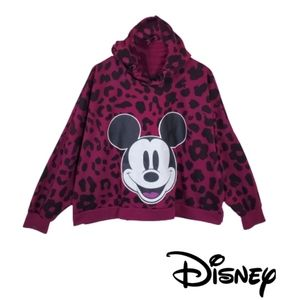 DISNEY Mickey Mouse Cropped Leopard Print Hoodie